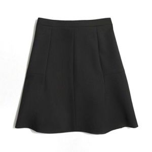 J. Crew Double Crepe Fluted Skirt in Black Size 8